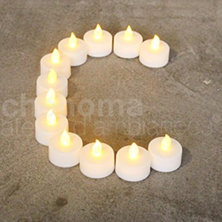 S/12 BOUGIES BLANCHES PLAT LED