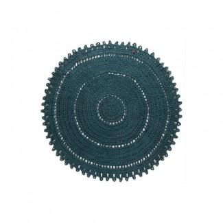TAPIS GYPSY COTON BLEU CANARD ROND 120CM