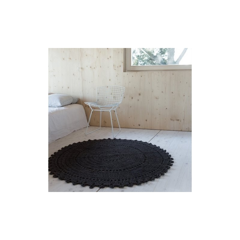 tapis gypsy coton noir rond 120cm ambiances et mati res. Black Bedroom Furniture Sets. Home Design Ideas