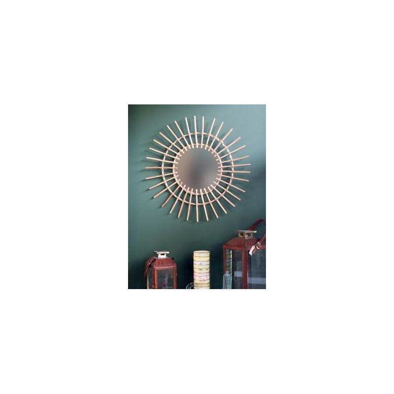 miroir soleil rotin naturel 70cm ambiances et mati res. Black Bedroom Furniture Sets. Home Design Ideas