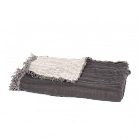 PLAID BAYA CHARBON NATUREL 135X200 - Harmony Textile