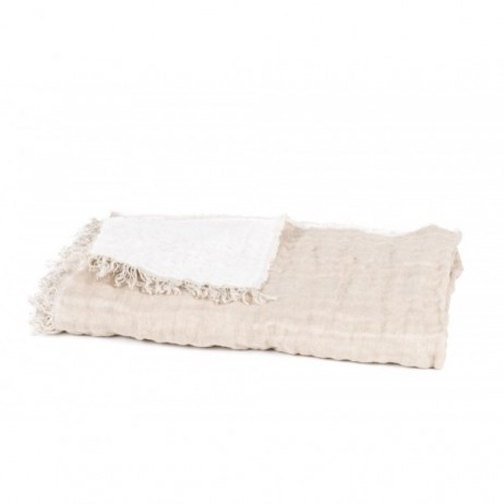 PLAID BAYA NATUREL BLANC 135X200 - Harmony Textile