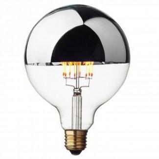 AMPOULE RETRO GLOBE LED DIMMABLE 8W D.12.5 H:17.5 CM CALOTTE ARGENTEE E27