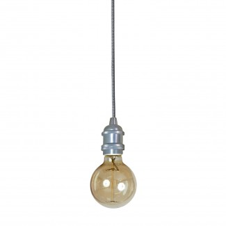 SUSPENSION DOUILLE VINTAGE ALUMINIUM SATINE 6X6CM