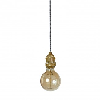 SUSPENSION DOUILLE VINTAGE LAITON SATINE 6X6CM