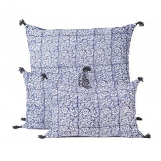 Coussin lin KANDJI PETROLE 45X45 Harmony Textile