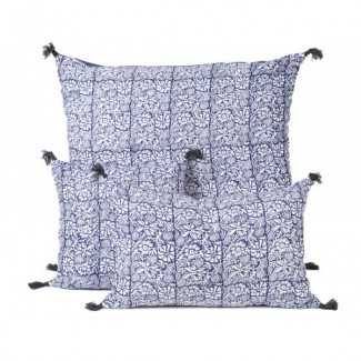 Coussin lin KANDJI PETROLE 80X80 Harmony Textile
