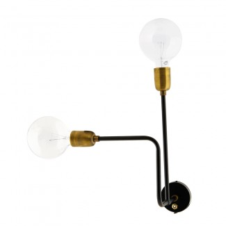 Wall lamp, Molecular, black/brass,