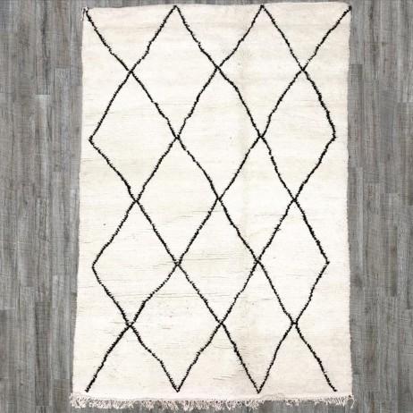 tapis beni ouarain 240x145 fa ecru et losanges noirs - Tapis Beni Ouarain
