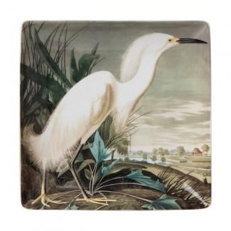 VIDE POCHE BIRDS LARGE TRINKET HERON BLANC 20x20CM CUBIC
