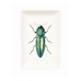 PLATEAU TRINKET TRAY GREEN BEETLE 15X10CM