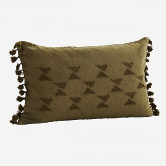 COUSSIN BRODERIE ET POMPONS 30X50 TABAC