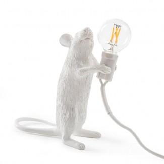 LAMPE RESINE BLANCHE SOURIS 6X13.3 H.14.5