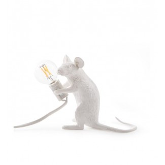 LAMPE RESINE BLANCHE SOURIS ASSISE 5X15 H.12.5 Seletti