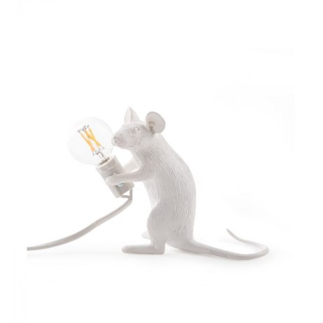 LAMPE RESINE BLANCHE SOURIS ASSISE 5X15 H.12.5 - Seletti