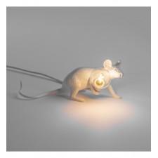 LAMPE RESINE BLANCHE SOURIS ALLONGEE 6.2X21 H.8.1 - Seletti