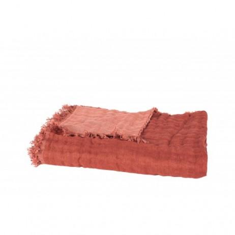 PLAID BAYA ARGILE CAPUCINE 135X200 - Harmony Textile