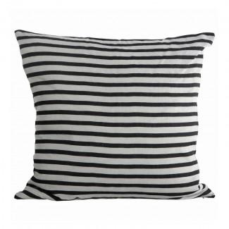 Pillowcase, Stripe, black/grey, 50x50