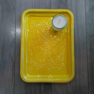 PLATEAU RECTANGLE BERBERE EN METAL EMAILLE GM YELLOW