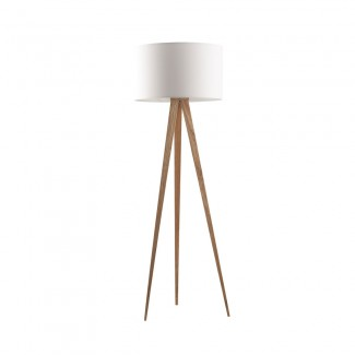 LAMPADAIRE FLOOR LAMP TRIPOD WOOD WHITE
