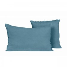 COUSSIN EN LIN 40X60 VITI BLEU STONE - Harmony Textile