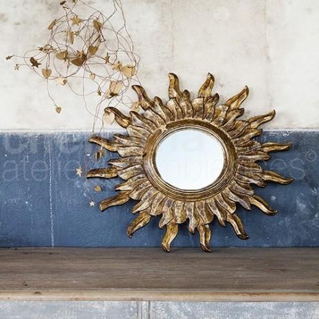 Petit miroir soleil vieil or e shop d co par for Petit miroir soleil