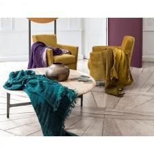 PLAID BAYA CHARBON/NATUREL 135X200 - Harmony Textile