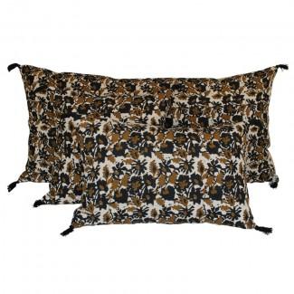 Coussin lin lavé BOHOL - BLOCK PRINT 45X45 Harmony Textile