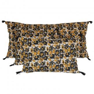 Coussin lin lavé BOHOL - BLOCK PRINT 55X110 Harmony Textile