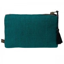 Pochette lin MANSA 15X11CM - Bleu de prusse - Harmony Textile