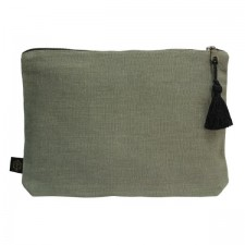 Pochette lin MANSA 29x22CM - Kaki - Harmony Textile