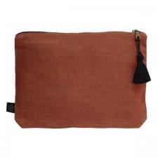 Pochette lin MANSA 29x22CM - Brick - Harmony Textile