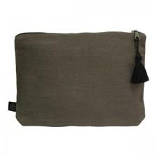 Pochette lin MANSA 29x22CM - Charbon - Harmony Textile