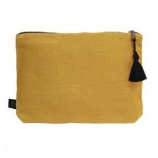 Pochette lin MANSA 29x22CM - Safran - Harmony Textile