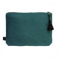 Pochette lin MANSA 29x22CM - Bleu de prusse - Harmony Textile
