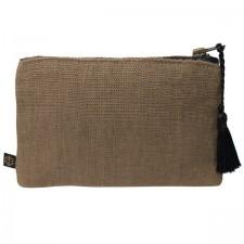 Pochette lin MANSA 15X11CM - Brownie - Harmony Textile