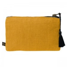 Pochette lin MANSA 15X11CM - Safran - Harmony Textile