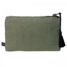 Pochette lin MANSA 15X11CM - Kaki - Harmony Textile