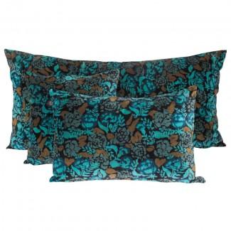 Coussin velours Mharas Bleu de Prusse Harmony Textile